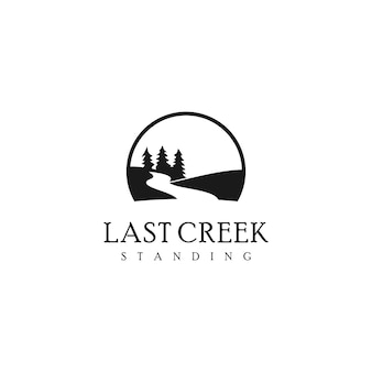 Simple creek logo river tree vector
