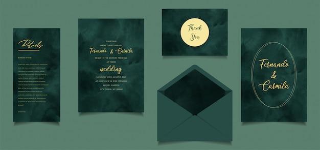 Simple et élégant mariage d'invitation aquarelle peinte à la main vert et jaune