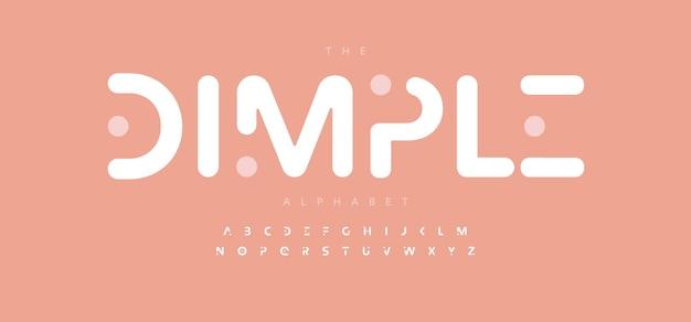 Simple fossette alphabet lettre police logo moderne typographie conception typographique arrondie minimale adoucie