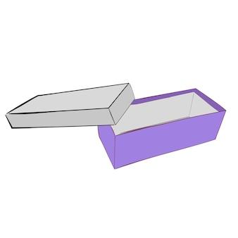 Simple hand draw sketch vector template ou maquette boîte à chaussures violette, isolé sur blanc