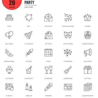 Simple jeu d'icônes de ligne de vecteur connexes parti