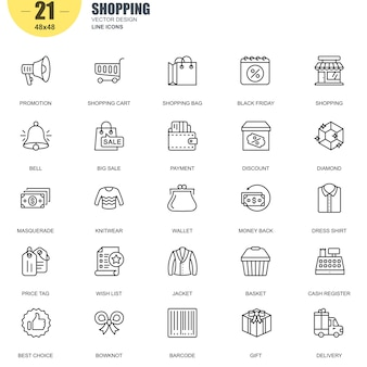 Simple jeu de shopping connexes vector line icons