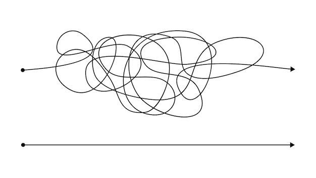 Simple juste et complexe dans le mauvais sens avec une ligne en désordre. lignes noires avec un point de départ et une flèche à la fin isolées sur fond blanc. illustration vectorielle