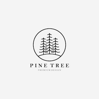 Simple line art pine tree logo vector illustration design arbre linéaire, minimaliste, minimal de l'arbre logo simplement