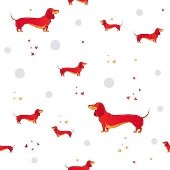 Simple modèle moderne sans couture avec chien rouge et l'herbe.