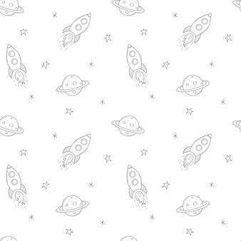 Un simple modèle sans couture mignon avec un vaisseau spatial, une fusée, la planète saturne. fond noir et blanc