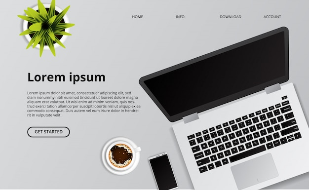 Simple ordinateur portable propre sur le bureau avec illustration de téléphone, de café et de plante.