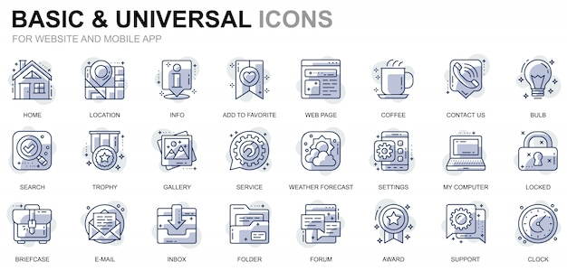 Simple set basic line icons pour sites web et applications mobiles