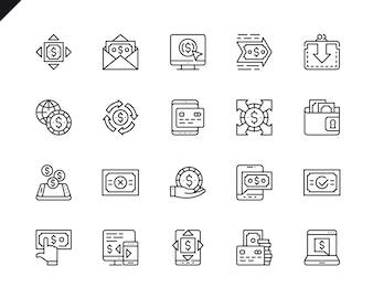 Simple Set of Payment Icônes de lignes vectorielles associées.