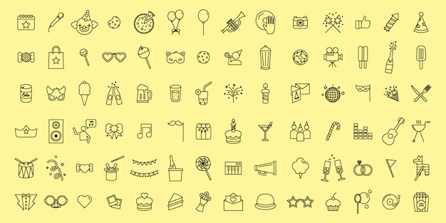 Simple set vector icônes de fête et de fête fine ligne