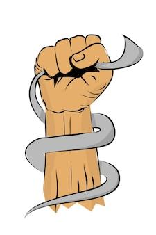 Simple vecteur noir, blanc et marron croquis poinçonnage ou fisting main