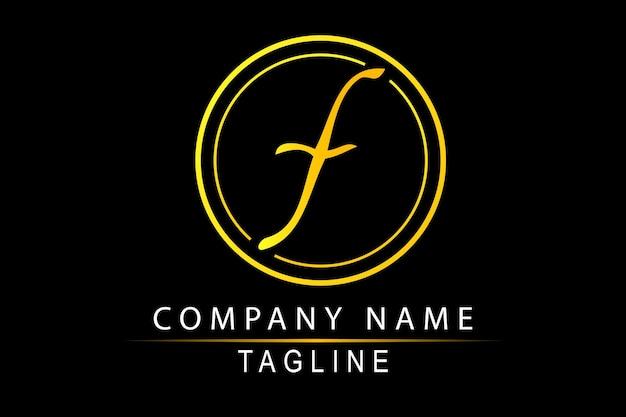 Simple vector hand draw sketch gradient jaune à orange logo script f, pour classic elegance corporate, au noir