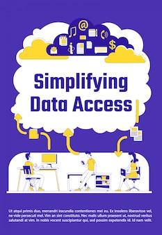 Simplifier le modèle de silhouette plate d'affiche d'accès aux données