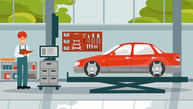 Simulateur de voiture travaillant dans la réparation automobile illustration de service automobile 3