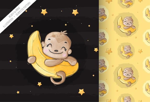 Singe animal mignon heureux sur le modèle sans couture de lune. animal de dessin animé mignon.