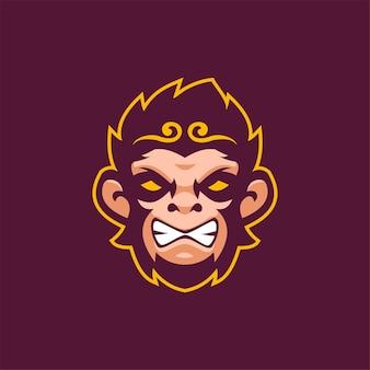 Singe animal tête dessin animé logo modèle illustration esport logo jeu premium vecteur