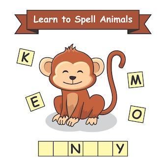 Singe apprend à épeler les animaux