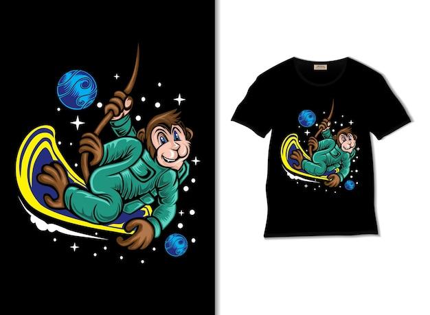 Singe astronaute jouant à la planche à roulettes dans l'illustration de l'espace avec un design de t-shirt