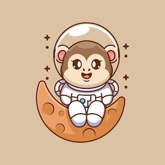 Singe astronaute mignon assis sur la lune