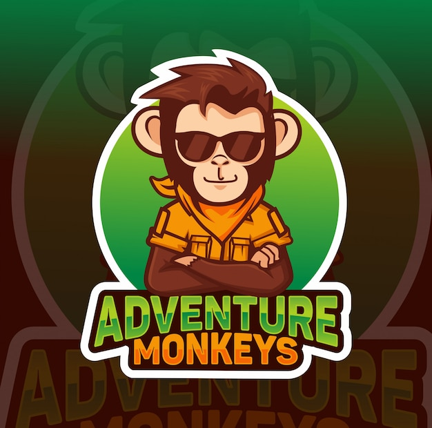 Singe aventurier, design de logo esport mascotte cool