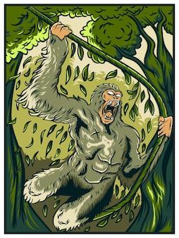Singe en colère tenant une vigne dans la jungle illustration