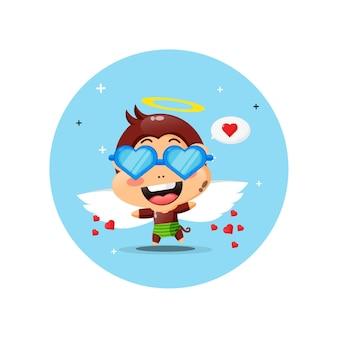 Singe cupidon mignon portant des lunettes amour