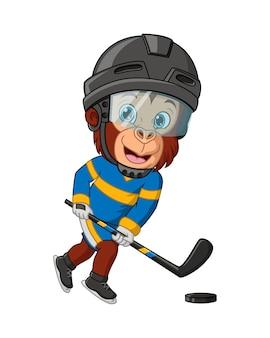 Singe de dessin animé jouant au hockey