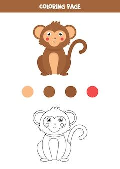 Singe de dessin animé mignon de couleur. feuille de travail pour les enfants.