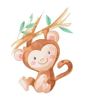 Singe de dessin animé suspendu à une illustration de branche d'arbre
