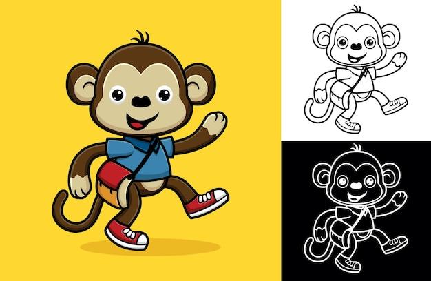 Singe drôle avec sac allant à l'école. illustration de dessin animé de vecteur dans le style d'icône plate