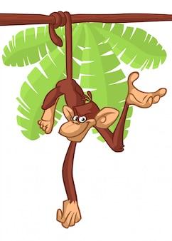 Singe drôle suspendu à l'illustration de dessin animé d'arbre