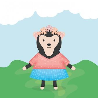 Singe femelle mignon avec personnage de vêtements