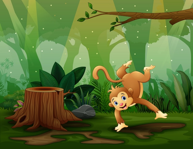 Singe heureux dansant dans l'illustration du bois