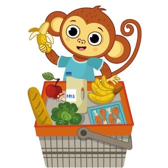 Singe heureux s'amusant au caractère d'illustration vectorielle de shopping