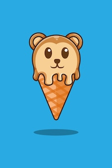 Singe avec illustration de dessin animé de crème glacée