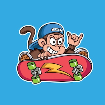 Singe jouant au dessin animé de skateboard