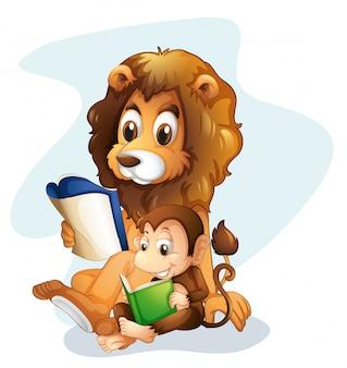 Un singe et un lion lisant des livres