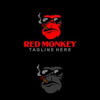 Singe logo élite singe rouge illustration de singe mafia singe avec cigarette