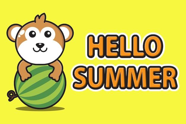 Singe de mascotte mignonne étreignant la pastèque avec la bannière de voeux bonjour été