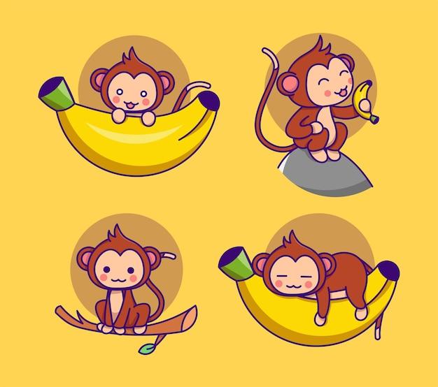 Singe mignon avec banane dans différentes poses collection
