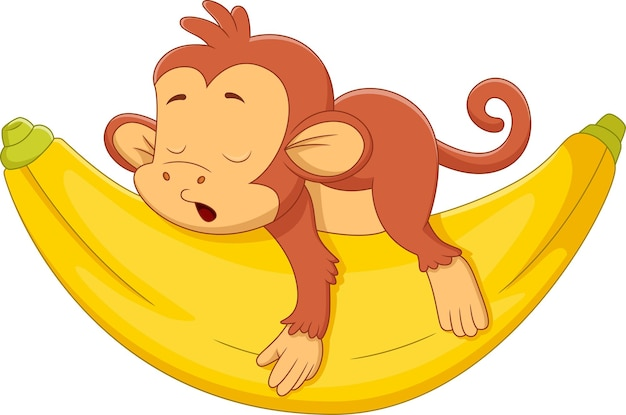 Singe mignon de bande dessinée dormant sur la grosse banane