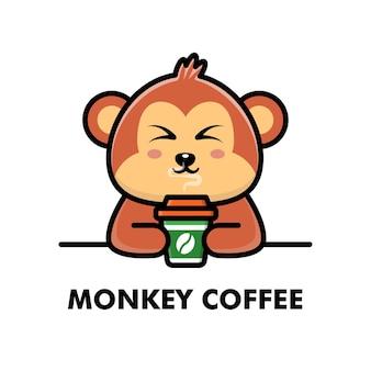 Singe mignon boire café tasse dessin animé animal logo café illustration
