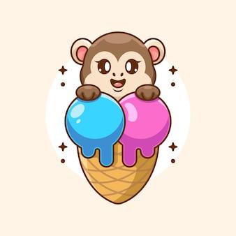 Singe mignon avec dessin animé cornet de crème glacée