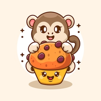 Singe mignon avec dessin animé cupcake