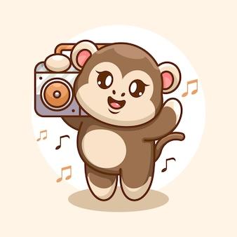 Singe mignon écoutant de la musique avec dessin animé boombox