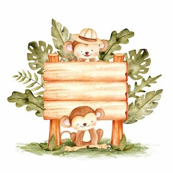 Singe mignon avec illustration aquarelle de modèle de signe de bois