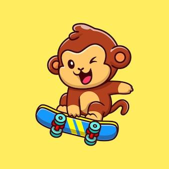 Singe mignon jouant à la planche à roulettes cartoon vector icon illustration. concept d'icône de sport animal isolé vecteur premium. style de dessin animé plat