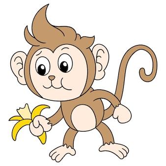 Un singe mignon mangeant une banane, dessin de griffonnage mignon de caractère. illustration vectorielle
