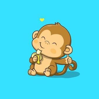 Singe mignon mangeant une illustration de banane