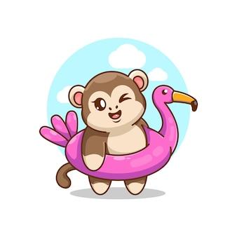 Singe mignon portant la bande dessinée d'anneau de bain de flamant rose